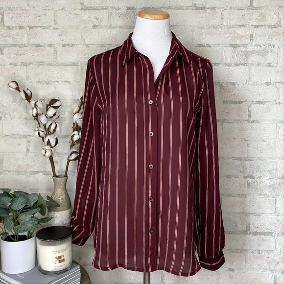 Maurices | Burgundy Stripe Button Down Blouse